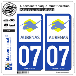 2 Autocollants plaque immatriculation Auto 07 Aubenas - Ville