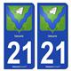 Jeu de 2 Stickers pour plaques d'immatriculation auto - Modèle : 21 Izeure - Armoiries