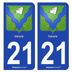 2 Autocollants plaque immatriculation Auto 21 Izeure - Armoiries