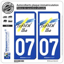 2 Autocollants plaque immatriculation Auto 07 Tournon-sur-Rhône - Ville