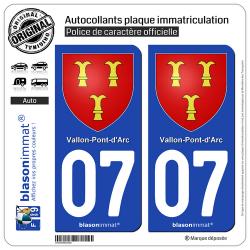 2 Autocollants plaque immatriculation Auto 07 Vallon-Pont-d'Arc - Armoiries