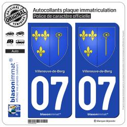 2 Autocollants plaque immatriculation Auto 07 Villeneuve-de-Berg - Armoiries