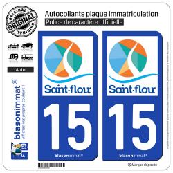 2 Autocollants plaque immatriculation Auto 15 Saint-Flour - Agglo