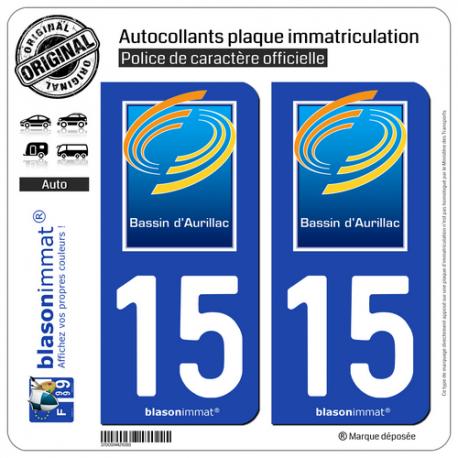 2 Autocollants plaque immatriculation Auto 15 Aurillac - Agglo