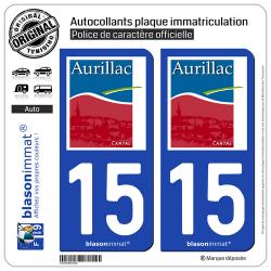 2 Autocollants plaque immatriculation Auto 15 Aurillac - Ville