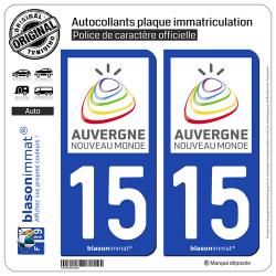 2 Autocollants plaque immatriculation Auto 15 Auvergne - Tourisme
