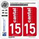 2 Autocollants plaque immatriculation Auto 15 Cantal - Collector