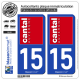 2 Autocollants plaque immatriculation Auto 15 Cantal - Must