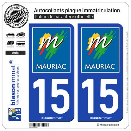2 Autocollants plaque immatriculation Auto 15 Mauriac - Ville