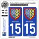 2 Autocollants plaque immatriculation Auto 15 Saint-Flour - Armoiries
