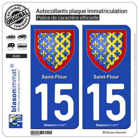 2 Autocollants plaque immatriculation Auto 15 Saint-Flour - Armoiries