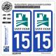 2 Autocollants plaque immatriculation Auto 15 Saint-Flour - Ville