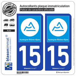 2 Autocollants plaque immatriculation Auto 15 Auvergne-Rhône-Alpes - Région