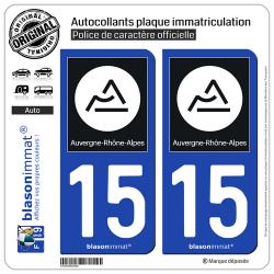 2 Autocollants plaque immatriculation Auto 15 Auvergne-Rhône-Alpes - Région II