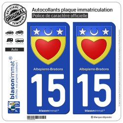 2 Autocollants plaque immatriculation Auto 15 Albepierre-Bredons - Armoiries