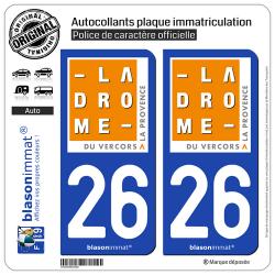 2 Autocollants plaque immatriculation Auto 26 Drôme - Tourisme