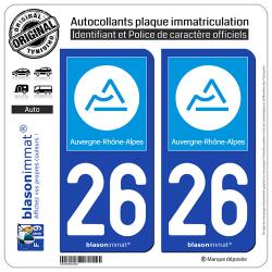 2 Autocollants plaque immatriculation Auto 26 Auvergne-Rhône-Alpes - Région