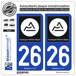 2 Autocollants plaque immatriculation Auto 26 Auvergne-Rhône-Alpes - Région II