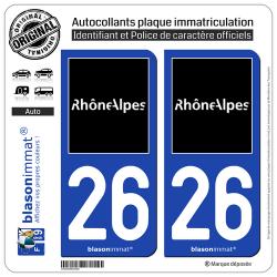 2 Autocollants plaque immatriculation Auto 26 Rhône-Alpes - Tourisme