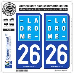 2 Autocollants plaque immatriculation Auto 26 Drôme - Département