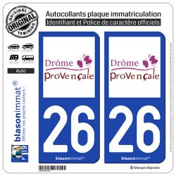 2 Autocollants plaque immatriculation Auto 26 Drôme - Provençale