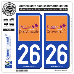 2 Autocollants plaque immatriculation Auto 26 Drôme - Provençale II