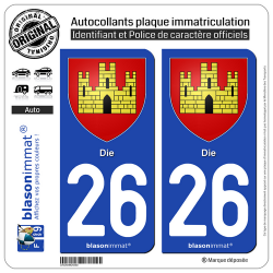 2 Autocollants plaque immatriculation Auto 26 Die - Armoiries