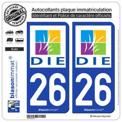 2 Autocollants plaque immatriculation Auto 26 Die - Ville