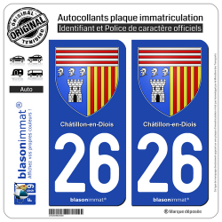 2 Autocollants plaque immatriculation Auto 26 Châtillon-en-Diois - Armoiries