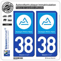 2 Autocollants plaque immatriculation Auto 38 Auvergne-Rhône-Alpes - Région