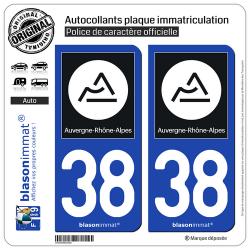 2 Autocollants plaque immatriculation Auto 38 Auvergne-Rhône-Alpes - Région II