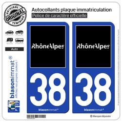 2 Autocollants plaque immatriculation Auto 38 Rhône-Alpes - Tourisme