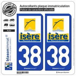 2 Autocollants plaque immatriculation Auto 38 Isère - Département