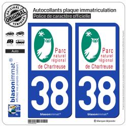 2 Autocollants plaque immatriculation Auto 38 Chartreuse - Parc Naturel Régional