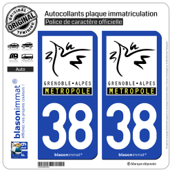 2 Autocollants plaque immatriculation Auto 38 Grenoble - Métropole