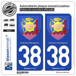 2 Autocollants plaque immatriculation Auto 38 Charvieu-Chavagneux - Armoiries