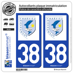 2 Autocollants plaque immatriculation Auto 38 Charvieu-Chavagneux - Commune