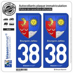 2 Autocollants plaque immatriculation Auto 38 Bourgoin-Jallieu - Armoiries