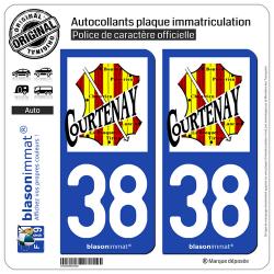 2 Autocollants plaque immatriculation Auto 38 Courtenay - Commune