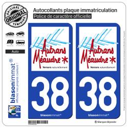 2 Autocollants plaque immatriculation Auto 38 Autrans-Méaudre-en-Vercors - Tourisme