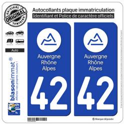 2 Autocollants plaque immatriculation Auto 42 Auvergne-Rhône-Alpes - LogoType
