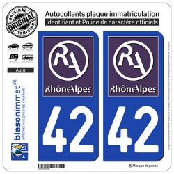 2 Autocollants plaque immatriculation Auto 42 Rhône-Alpes - LogoType II