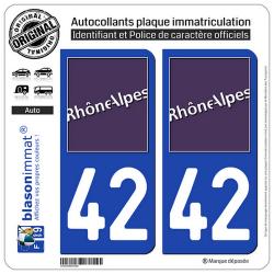 2 Autocollants plaque immatriculation Auto 42 Rhône-Alpes - LogoType
