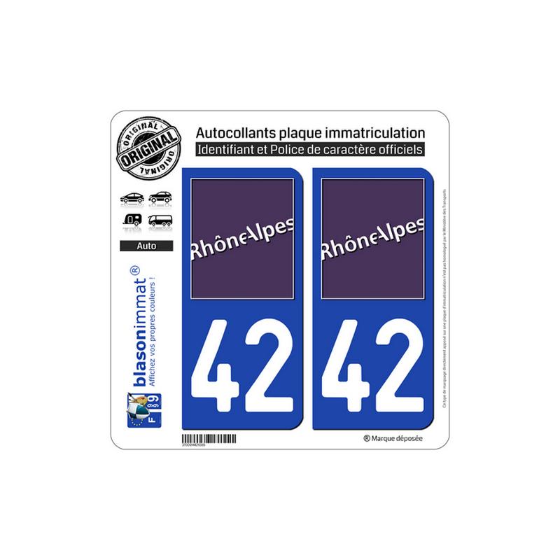 autocollant plaque immatriculation departement 42 loire logotype. Black Bedroom Furniture Sets. Home Design Ideas