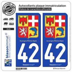 2 Autocollants plaque immatriculation Auto 42 Auvergne-Rhône-Alpes - Armoiries
