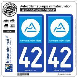 2 Autocollants plaque immatriculation Auto 42 Auvergne-Rhône-Alpes - Région