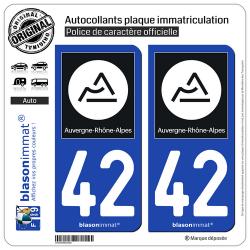 2 Autocollants plaque immatriculation Auto 42 Auvergne-Rhône-Alpes - Région II