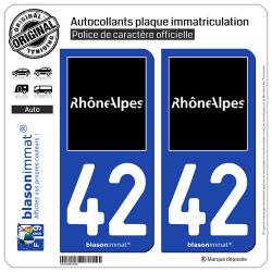 2 Autocollants plaque immatriculation Auto 42 Rhône-Alpes - Tourisme