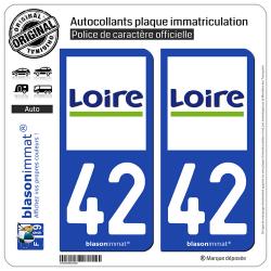 2 Autocollants plaque immatriculation Auto 42 Loire - Département