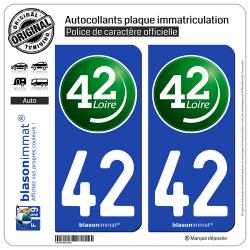 2 Autocollants plaque immatriculation Auto 42 Loire - Département II